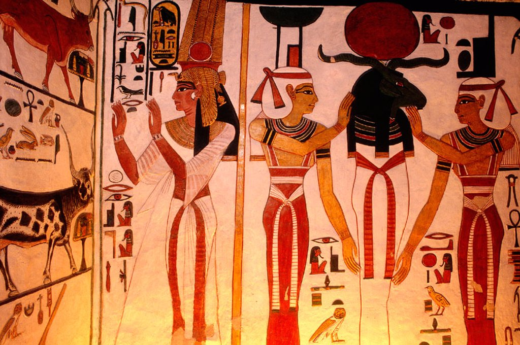 Stock Photo: 1566-052683 Mural painting at the tomb of Nefertari, first wife of Ramses II. Valley of the Queens. West Bank. Luxor. Egypt