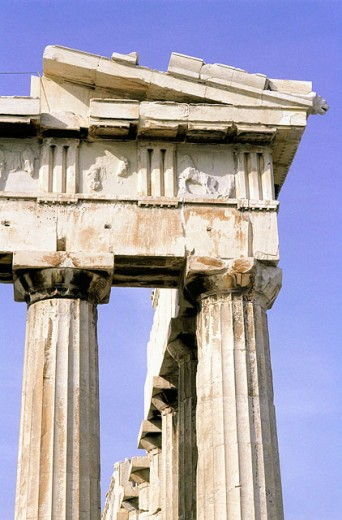 Detail of the colums, chapiters and frieze. Parthenon. Acropolis. Athens. Greece : Stock Photo