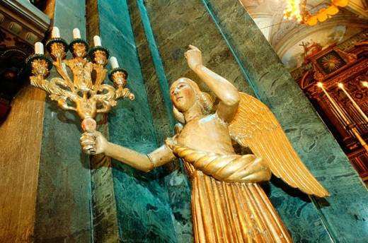 Angel statue in church : Stock Photo