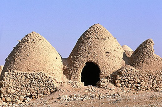 Stock Photo: 1566-053027 Old traditional vaulted stone dwellings. West desert, Syria