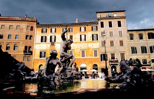 Neptune´s Fountain (19th century) at Piazza Navona. Rome. Italy : Stock Photo