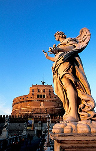 Sant´Angelo Castle and Bernini angels. Vatican. Rome. Italy : Stock Photo