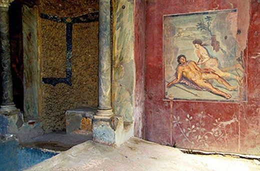 Erotic painting at villa. Ruins of Pompeii. Italy : Stock Photo