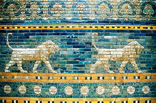 Stock Photo: 1566-053350 Lions frieze from Pergamon temple (Turkey). Pergamon Museum. Berlin. Germany