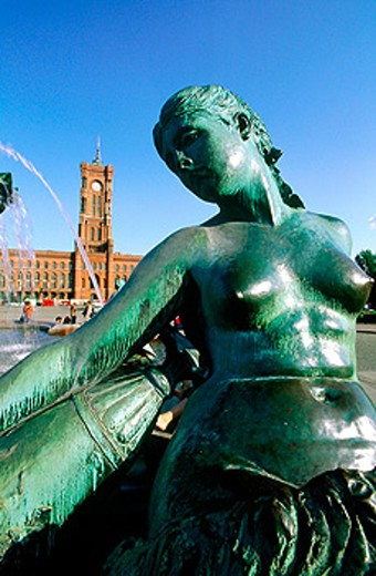 Stock Photo: 1566-053383 Neptune Fountain built in 1888 (gift to Wilhem II) and City Hall. Rathausplatz (City Hall square). Berlin. Germany