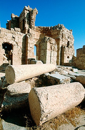 Ruins of church at fortress, old Roman city. Risafe. Syria : Stock Photo