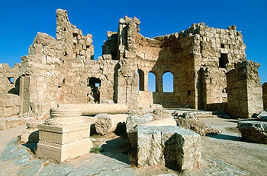 Stock Photo: 1566-053457 Ruins of church at fortress, old Roman city. Risafe. Syria