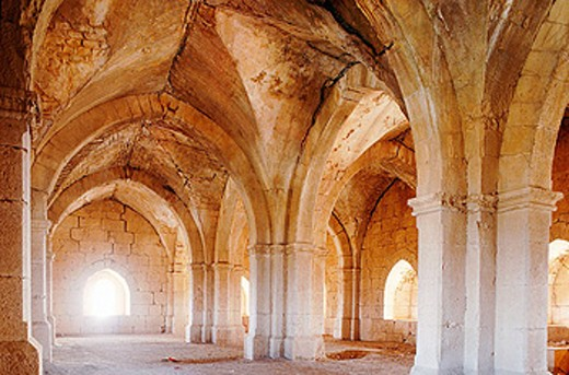 Vaulted room, ruins of Castle of the Templars (late 12th to early 13th century) built by Crusaders. Tartus. Syria : Stock Photo