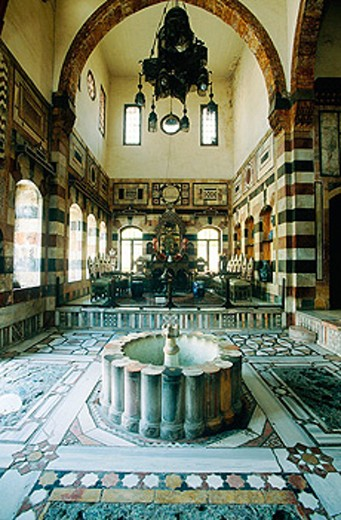 Reception room of Azem Palace, built in 18th century by Assad Pasha al-Azem, Ottoman governor of Damascus. Syria : Stock Photo