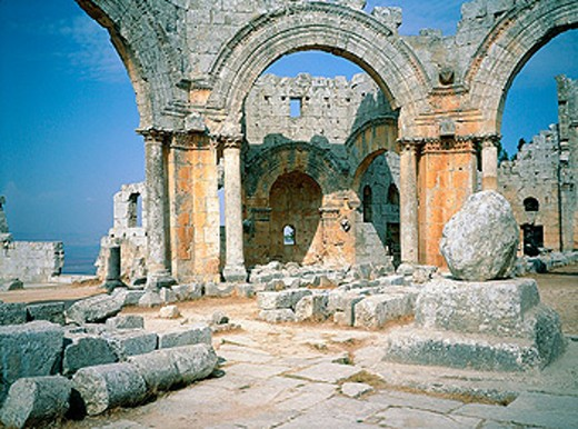 Ruins of the basilica built where St. Simeon was supposed to live on top of a column. Syria : Stock Photo