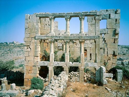 Ruins of large house. Qalb Loze. Syria : Stock Photo