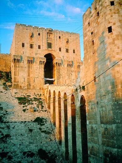 Citadel entrance at dusk. Aleppo. Syria : Stock Photo