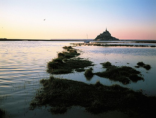 Stock Photo: 1566-053822 Mont Saint Michel at sunrise with high tide. Normandy. France