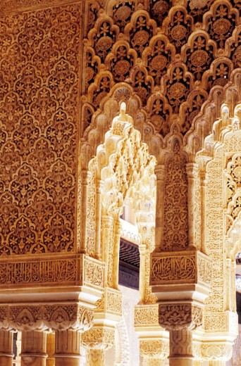 Detail of columns at the Courtyard of the Lions, Alhambra. Granada. Spain : Stock Photo