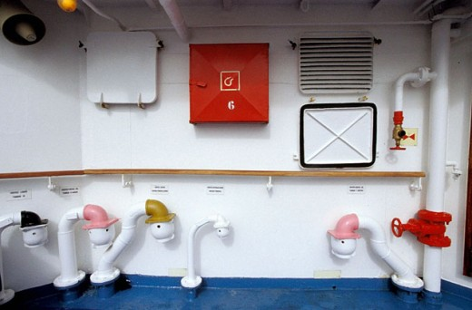 Stock Photo: 1566-054029 Deatail of painted pipes onboard the ms/´Santa Cruz´. Galapagos Islands. Ecuador