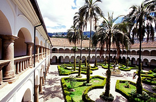 Cloister. Convento de Sant Francisco (Monastery and church founded in 1534 so that the oldest in Latin America). Quito. Ecuador : Stock Photo