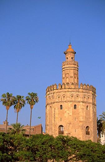 ´Torre del Oro´ in Sevilla. Spain : Stock Photo