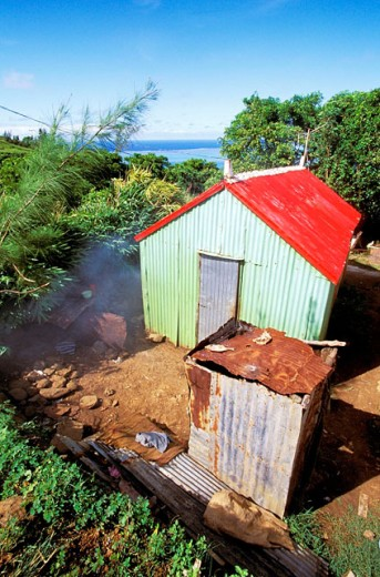 Local hut (walls and roof are made of corrugated iron). Rodrigues Island. Mauritius : Stock Photo