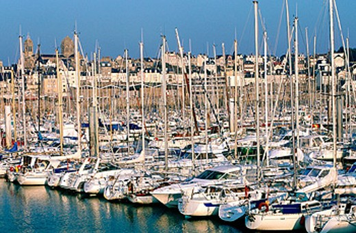 Sailing boats anchored in the marina. Granville. Normandy. France : Stock Photo