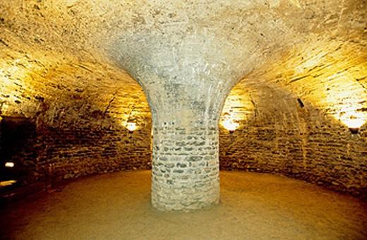 Stock Photo: 1566-054804 Crypt of Benedictine abbey of Saint-Michel de Cuxa. Prades. Pyrenees-Orientales, Languedoc Roussillon. France