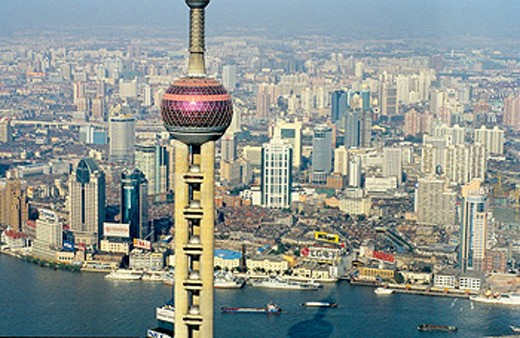 Stock Photo: 1566-054836 Orient Pearl TV Tower in Pudong new town on Huangpu river East bank. Shanghai. China