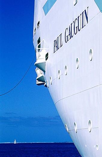 MS Paul Gauguin cruise anchored in Bora Bora lagoon. French Polynesia : Stock Photo