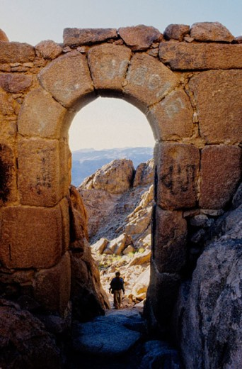 Climbing the Mount Moses from St. Catherine´s Greek Orthodox monastery. Sinai desert, Egypt : Stock Photo