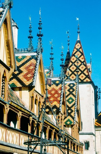 Ceramic tiles roof of Hotel Dieu (1443). Beaune. Burgundy. France : Stock Photo
