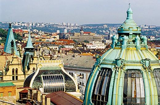 The cupola of the Jugendstil (Art Nouveau) Municipal House. Prague. Czech republic. : Stock Photo