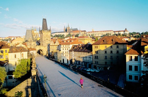 Charles Bridge at sunrise. Prague. Czech Republic : Stock Photo