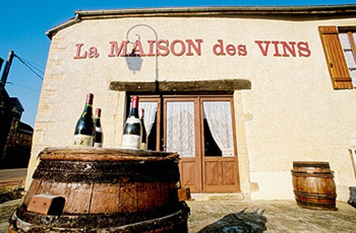 Wine shop in Gevrey. Côte de Nuits. Côte d´Or. Burgundy. France. : Stock Photo