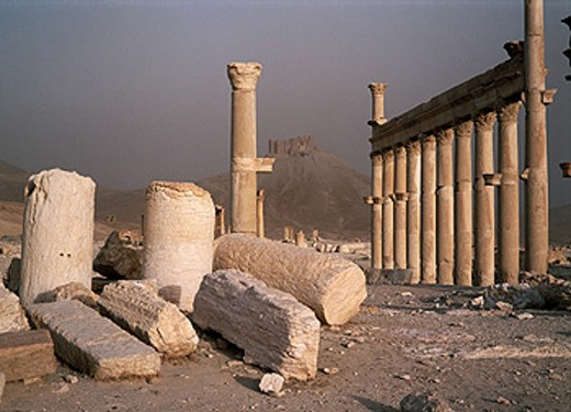 Ruins and colonnade on the roman cardo (Main Street). Ancient city of Palmyra. Syria : Stock Photo