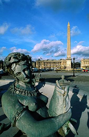 Stock Photo: 1566-055675 Egyptian Obelisk and fountain detail. Place de la Concorde. Paris. France