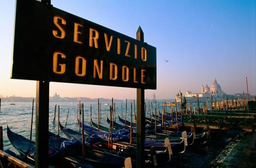 Stock Photo: 1566-055684 Gondolas and Santa Maria della Salute church in background. Venice. Italy