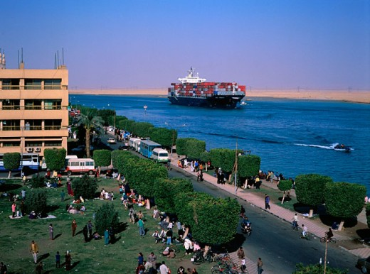 Overview on Suez Canal and freighter. Suez City. Egypt : Stock Photo