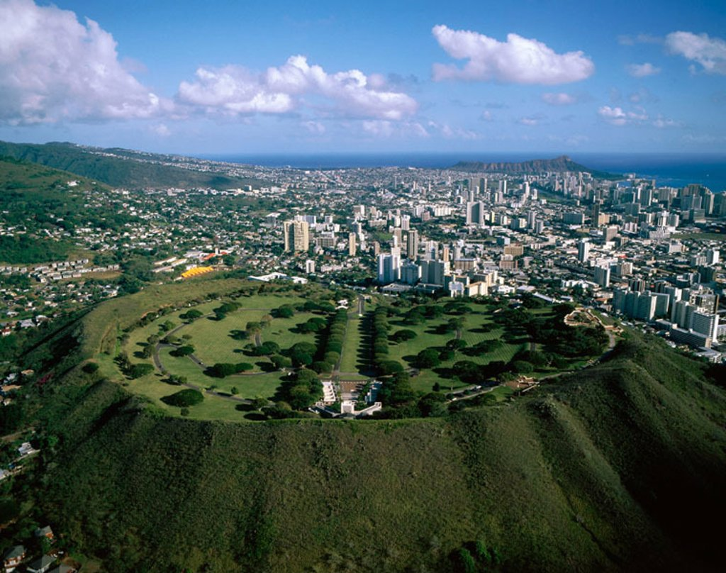 Punchbowl, a crater containing the National Memorial Cemetery of the Pacific with graves of World War II, Korean, and Vietnam War dead. Honolulu. Oahu. Hawaii : Stock Photo