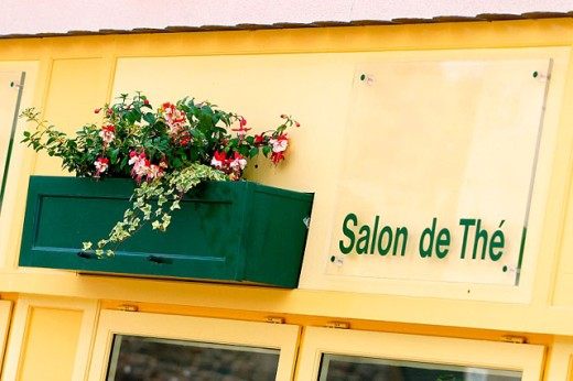Tea room sign. Pontrieux. Brittany, France : Stock Photo
