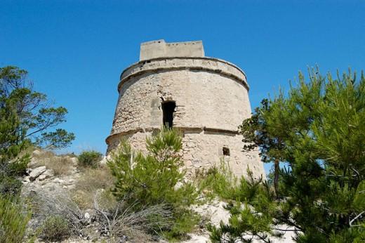 Tower dating 18th century. Portinatx. Ibiza, Balearic Islands. Spain : Stock Photo