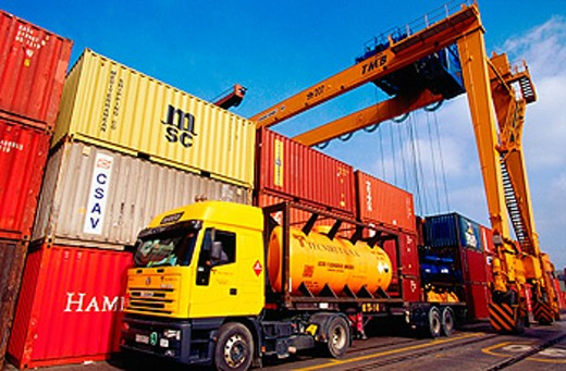 Loading containers at port. Bilbao. Biscay. Spain : Stock Photo