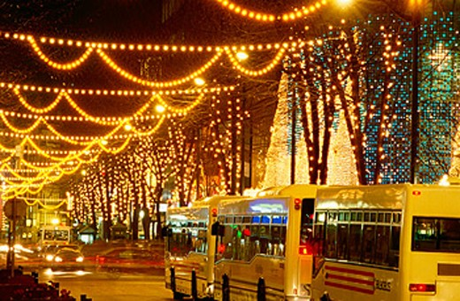 Gran Via with Christmas lights. Bilbao. Spain : Stock Photo