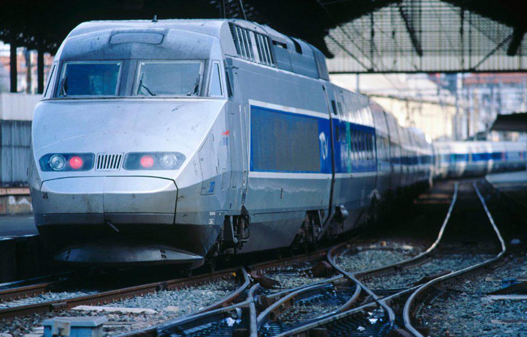 Stock Photo: 1566-059011 TGV (High-Speed train). Hendaye. France (Spanish-French border)