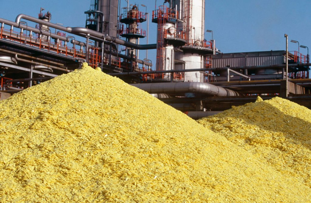 Sulphur at oil refinery. Biscay. Spain : Stock Photo