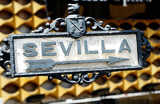 Sevilla sign at Jerez de la Frontera, Cádiz province. Spain : Stock Photo