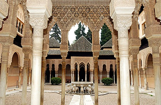 Courtyard of the Lions, Alhambra. Granada. Spain : Stock Photo