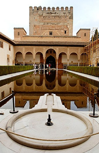 Tower of Comares and Patio de los Arrayanes (Court of the Myrtles), Alhambra. Granada. Spain : Stock Photo