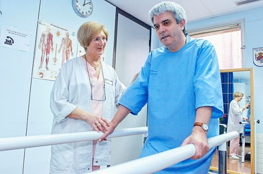 Physiotherapy and rehabilitation at hospital : Stock Photo