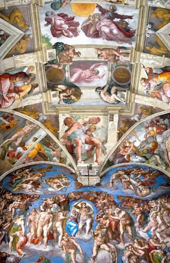 Renaissance frescoes Michelangelo Buonarroti (1475-1564/Italian) Fresco Sistine Chapel, Vatican City : Stock Photo