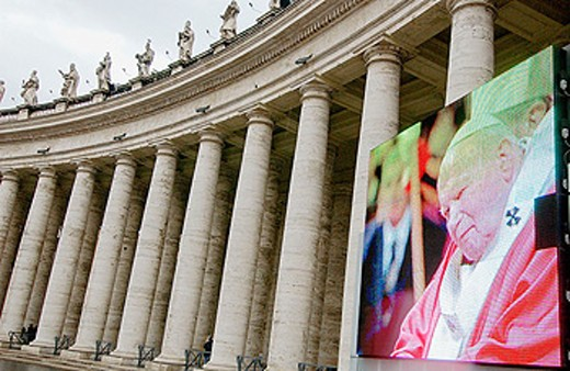 Image of Pope John Paul II at St. Peter´s Square. Vatican City, Rome. Italy : Stock Photo