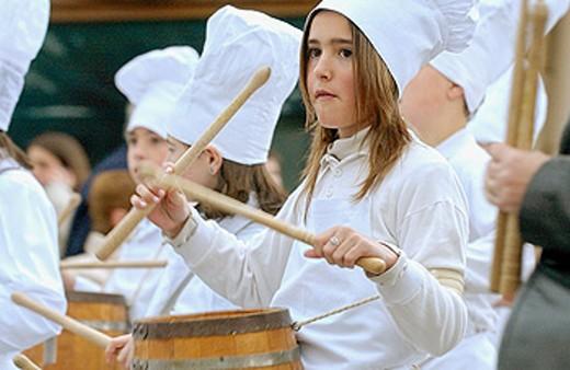 Stock Photo: 1566-063322 Tamborrada. Basque folklore. Fiestas de la Cruz. Legazpi. Gipuzcoa. Basque Country. Spain