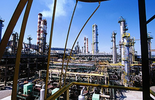 Stock Photo: 1566-063660 Repsol-YPF oil refinery. Tarragona province. Spain